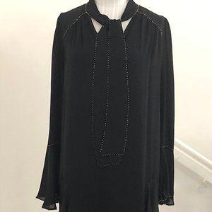 PARKER Black 100% Silk Beaded Edge Layered Dress